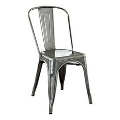 """Bistro-style steel side chair with a galvanized finish.      Product: ChairConstruction Material: SteelColor: Galvanized silver  Features: UV resistantStackableSlat back  Dimensions: 33.8"""" H x 17"""" W x 20.5"""" D"""