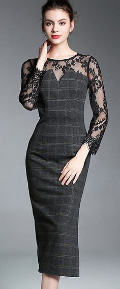 Chic O-Neck See Through Lace Patchwork Bodycon Dress