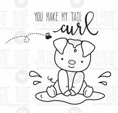 pig valentine digital stamp by JustMEdigitalstamps on Etsy