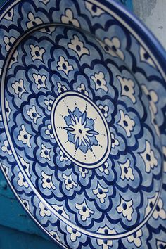 Blue plate via Flickr.  Capture the spirit of authentic Mexico with Talavera from http://www.lafuente.com/Mexican-Decor/Talavera-Pottery/ #home