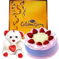 """1/2 Kg Strawberry Cake with Celebration Pack (139 Gms) and 8"""" Teddy"""