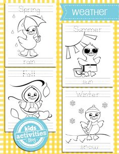 Super cute!  Weather Coloring Pages - set of 4 coloring sheets with seasons and weather