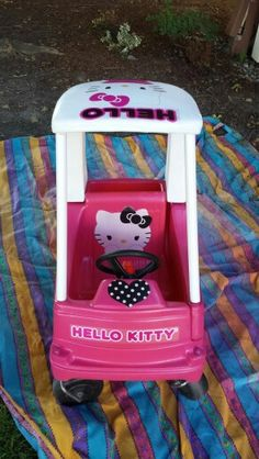 Hello kitty cozy coupe  Repinned by Apraxia Kids Learning. Come join us on Facebook at Apraxia Kids Learning Activities and Support- Parent Led Group.