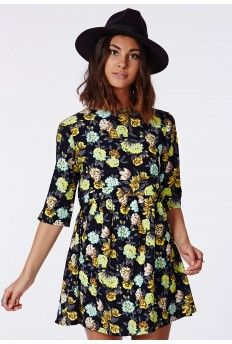 Skye Floral Smock Dress Lime #MissguidedAW14