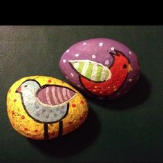Birds painted on rocks