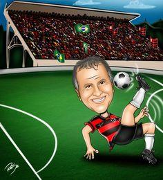 Caricaturas digitais, desenhos animados, ilustração, caricatura realista: Desenho do Zico !!