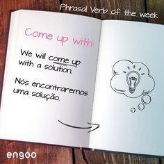 """O phrasal verb """"come up with"""" pode ser usado nas situações em que, após bastante reflexão, nós inventamos/criamos algo ou temos uma idéia. Por exemplo: - She thought about all the possibilities and came up with a plan. Ele também é usado informalmente para dizer que é preciso """"dar um jeito"""" para alcançar um resultado ou conseguir algo. Por exemplo : - You have until the end of the week to come up with the cash for the rent.  #PhrasalVerbs #Engoo #LearnEnglish Getting Over Her, Get Over It, Fear Of Dogs, Stop Complaining, Over The Hill, Feeling Sad, Learn English, How To Get, Relationship"""