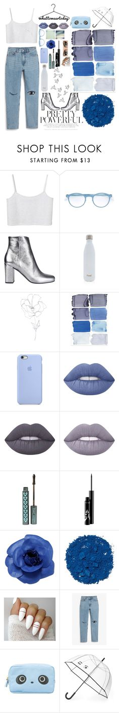 """""""Eyes for Blue"""" by lucky-luci ❤ liked on Polyvore featuring Monki, Mykita, Yves Saint Laurent, S'well, Blume, Lime Crime, Chanel, Illamasqua, Anya Hindmarch and Kate Spade"""