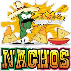 """6.5"""" 2pc Nacho Cheese Concession Trailer Mexican Restauant Food Truck SIgn Decal #SolidVisionStudio"""