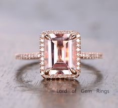 $658 Emerald Cut Morganite Engagement Ring Pave Diamond Wedding 14K Rose Gold 8x10mm
