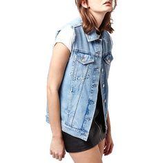Topshop Raw Edge Denim Vest ($75) ❤ liked on Polyvore featuring outerwear, vests, mid denim, blue denim vest, 80s denim fashion, denim vest, topshop and vest waistcoat