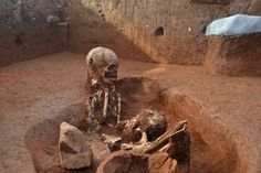 Human remains at an ancient burial ground at one of Asia's most mysterious sites – the Plain of Jars in Laos' central Xieng Khouang province