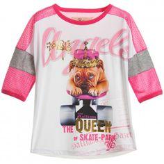 John Galliano - Girls Dog T-shirt with Mesh Shoulders   Childrensalon