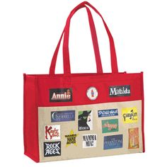 Our stylish line of totes continues with this natural cotton canvas bag featuring stunning red accents and 20 handles. More than 20 Broadway musical logos adorn two sides of this 17 x 12 x 7 tote. Two inside straps allow you to tie the bag closed to protect your belongings. $25