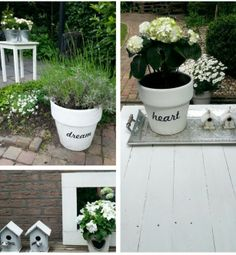 Nice idea for pots / Leuk idee voor potten Love Garden, Dream Garden, Ikea, Outside Decorations, Japanese Garden Design, Diy Bottle, Action, Home Deco, Diy And Crafts