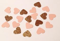 200 Pink and Copper Heart Confetti Glitter by JBPartyCreations