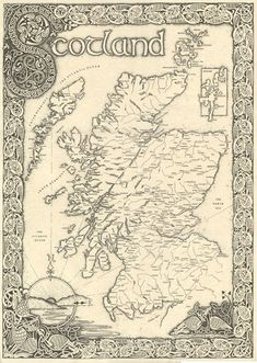 Map of the whole of Scotland with highly intricate border featuring celtic birds and knots. This is the English language version of the best...