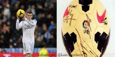 #MejoresImagenesDel2013  Gareth Bale anota su primer Hat Trick, se lleva el balón de recuerdo y sus compañeros estampan sus firmas en la esférica.