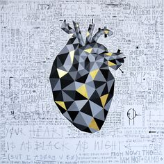 """My new painting """"YOUR HEART IS AS BLACK AS NIGHT"""" - 39,4 x 39,4 inches/ 100 x 100 cm - Acrylic, oil pastel and ink on canvas"""