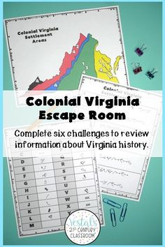 Are you looking for a fun way to review Virginia Studies? Look no further! This Colonial Virginia Escape Room is the perfect review activity to use at the end of a unit or before state testing! #vestals21stcenturyclassroom #virginiastudies #virginiastudies4thgrade #colonialvirginiaactivities