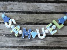 SAMUEL  WOODEN LETTER NAME DECORATION PERSONALISED SHABBY CHIC BABY NURSERY