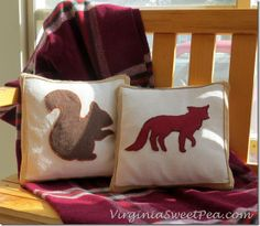 Squirrel Pillow! How easy to cut the shape from brown felt and attach to a throw pillow?!?! I think. YES.