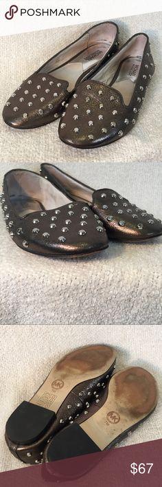Michael Kors Pewter Studded Flats Super cute, silver/pewter, studded flats. Shoes show some signs of wear, but still plenty of life left in them. Size 7. (71917) MICHAEL Michael Kors Shoes Flats & Loafers