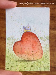Love Birds Aceo original OOAK mini art by thecurioustreehouse, £6.00