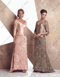 Mother Of The Bride Dress Picture - More Detailed Picture about New Arrival 3 4 Sleeve V Neck Women Pink Floor Length A Line Lace Mother Of Bride Dress With Jacket Bolero 17979 Picture in Lubricants from Suzhou Ems Dress Co. , Ltd