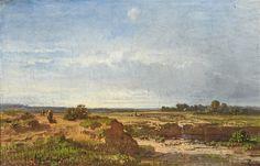 Artwork by Oswald Achenbach, Weite Landschaft mit Schafhirten und Staffagefiguren, Made of Oil on canvas
