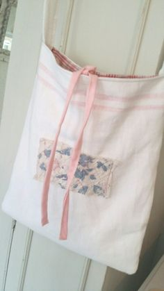 Pink stripe linen and quilt bag