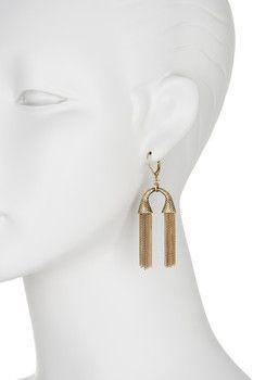 Sam Edelman Diamond Textured Double Tassel Drop Earrings