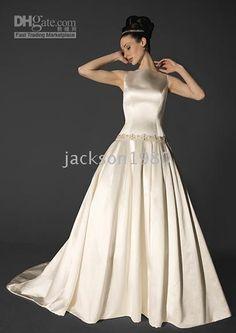 Great Bateau neckline sleeveless with beaded simple wedding dress