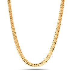 Worn by famous recording artists, this 4mm yellow-gold Franco chain blends style with sophistication to up your hip-hop wardrobe. Each chain uses a lobster clasp, engraved with the King Ice logo, and