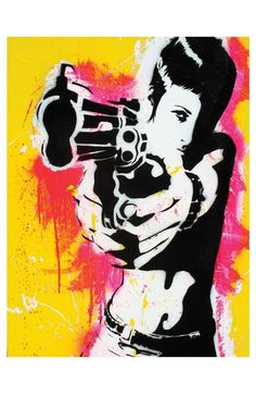 Shooter - Version 1.0, is a signed and dated, high quality reproduction of the original spray paint and acrylic painting by Sara Bowersock, printed