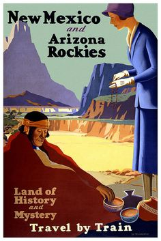 Poster by Birmingham Phil, via Flickr #New_Mexico #Arizona #train #land_of_history_and_mystery #rockies