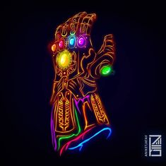 "Aniket Jatav (@aniketjatav) Instagram: ""71/365 : NEON MARVELS Artwork : 35 - The Infinity Gauntlet This came out out hell better than…"""