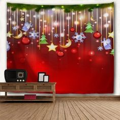 Christmas Star Moon Tree Bedroom Tapestry - RED W91 INCH * L71 INCH