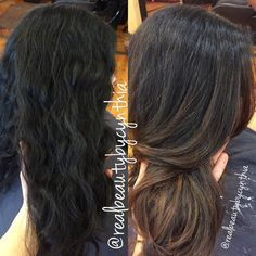 Before and after dark brown/black virgin hair to caramel Balayage ...