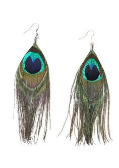 Dangling Peacock Feather Earrings Art Deco Statement Fashion Jewelry