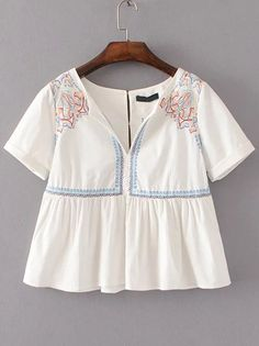 Shop White Embroidery Detail Babydoll Blouse online. SheIn offers White Embroidery Detail Babydoll Blouse & more to fit your fashionable needs.