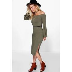 Boohoo Melli Off The Shoulder Flare Sleeve Midi Dress ($12) ❤ liked on Polyvore featuring dresses, khaki, bodycon maxi dress, sequin party dresses, off the shoulder maxi dress, party dresses and white maxi dress