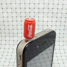 Cool Mini Red Coca-Cola Cans Anti Dust Plug 3.5mm Smart Phone Dust Stopper Earphone Cap Dustproof Plug Charms for iPhone 4 4S 5 HTC, Samsung on Etsy, $3.99