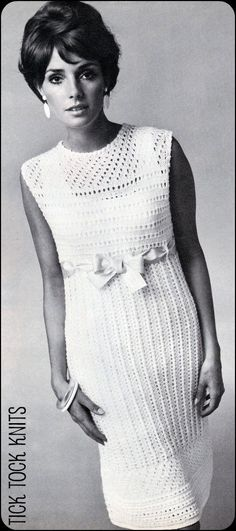 "No.89 PDF Vintage Knitting Pattern For Women - Empire Waist Lace Dress - Finished Bust Sizes 34"", 36"", 38"", 40"", 42"", 44"" - Instant Download"