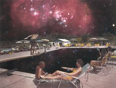 Collage of a pool and space