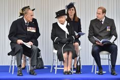 The Queen, Prince Philip and Prince William at the moving ceremony today.