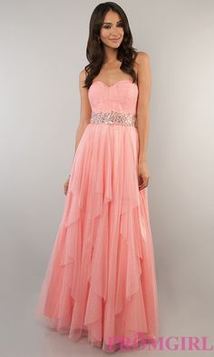 Coral Pink Prom Gown, Strapless Pink Dresses Bee Darlin-PromGirl