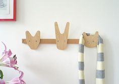 The Animals of Whittling Wood Coat Hooks - Sweet and stylish, this coat rack is perfect for the young and the young at heart. Maybe it will even encourage the little ones to tidy up too. Kids Bedroom Storage, Kids Storage, Intarsia Woodworking, Woodworking Projects, Kids Woodworking, Spearmint Baby, Wood Hooks, Whittling Wood, Whittling Projects