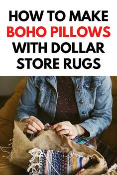 DIY Boho decor is easy with this dollar tree diy decor 2021 idea. Check out this tutorial for a Quick boho chic room decor using dollar store rugs to make diy floor seating. #boho #decor #diy Fun Diy Crafts, Diy Craft Projects, Boho Diy, Boho Decor, Old Pillows, Cushions, Diy Furniture Decor, Weekend Crafts, Rug Texture