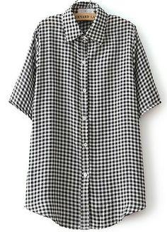 Black Lapel Short Sleeve Plaid Buttons Blouse AU$19.05